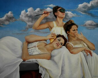 Oil portrait figure realism 30x40 inch painting figurative No Evil III by Kim Dow