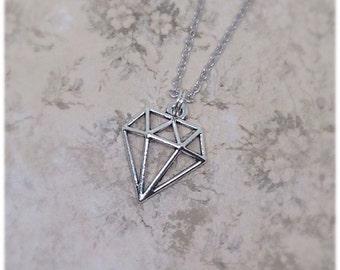 Diamond Necklace, Gem Charm, Silver Necklace, Geometric Jewellery, Jewel Necklace, Diamond Pendant, Ella Rose,