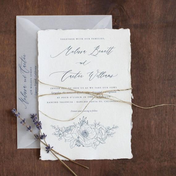 Paper For Wedding Invitation: Handmade Paper Wedding Invitation Deckled Edge Paper Torn