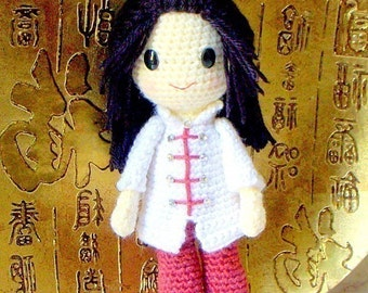 Ling ling - Handmade Crochet Amigurumi girl doll pattern / PDF