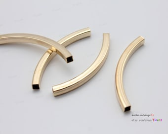 5pcs 50mm Long-3x3.5mm Hole Gold Plated Over Brass Square Curved Tubes/Pipes