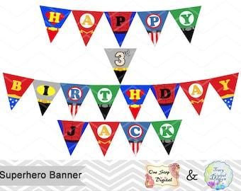 Printable Superhero Banner, Superhero Birthday Party Banner, Instant Download Superhero Bunting Superhero Birthday Party Banner Bunting 0265