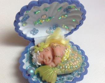 Mermaid, Merbaby, Baby Mermaid, Girl Mermaid, Art Doll, Miniature Mermaid, Little Mermaid, Oyster Shell, Cake Topper, Baby Shower, OOAK