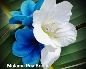 Hawaiian Hair clip, Hair accessory, Blue Plumeria, Hibiscus, Wedding Headpiece, Bridal, hair piece, Flower Clip, hair flower, Fascinator