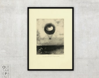 "Odilon Redon - ""L'Oeil Ballon"", Vintage art, Black and White vintage illustration, Vintage Drawing, Illustration"
