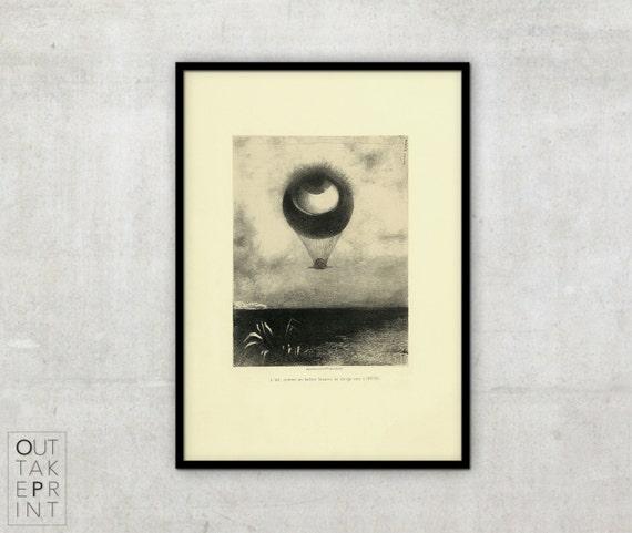 odilon redon l 39 oeil ballon vintage art. Black Bedroom Furniture Sets. Home Design Ideas
