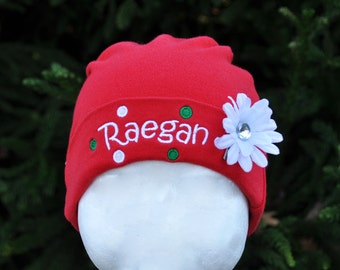 Baby Girl Christmas Beanie Hat Personalized with Name Polka Dots and Flower