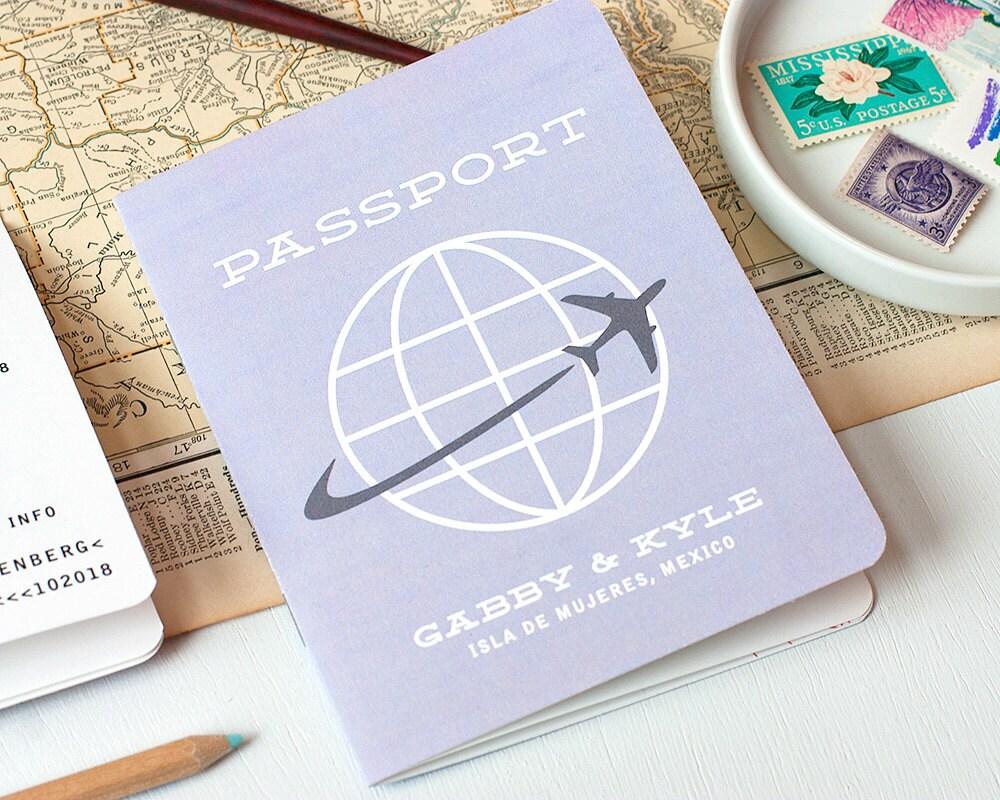 One Page Wedding Invitations: Passport Multi-Page Wedding Invitation Destination Wedding