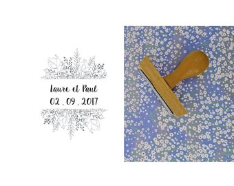 Rubber stamp wedding Laure & Paul, wedding personalized logo stamp, stamp custom wedding to decorate your wedding stationery