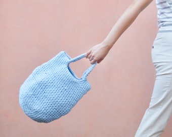 Baby Blue Crochet Pod Bag