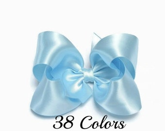 Light Blue Hair Bow, Satin Hair Bow, Hairbows, 4 Inch Hair Bow, Hair Bows, Toddler Hair Bows, Girl Hair Bows, Hair Bows for Girls, Baby Bows