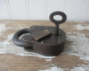 Antique Vintage padlock with key works brass hole cover Industrial