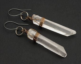 Rock Crystal Point Clear Quartz Earrings Sterling Silver Hook Bronze Boho Festival Raw Gemstone Long Drop Bohemian Earring April Birthstone