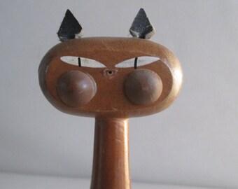 Vintage Wooden Cat Pen Holder Japan Teak