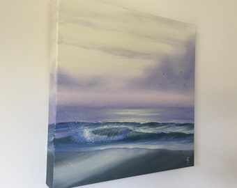 Tidal Zone - Sunset on the Beach Painting