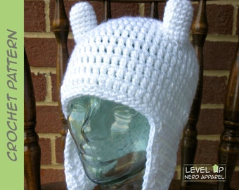Last Adventure Human earflap hat CROCHET PATTERN || 3 sizes || Instant Download