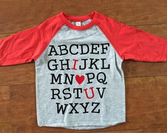 Toddler Alphabet I Love You ABC Raglan Shirt