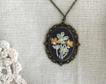Floral Pendant - hand embroidered necklace, whimsical, flowers, garden, bouquet
