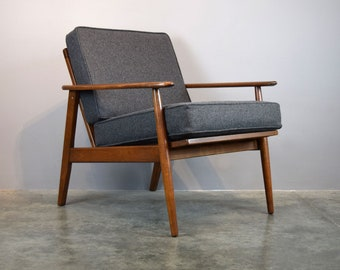 Mid-Century Lounge Chair in Lambswool