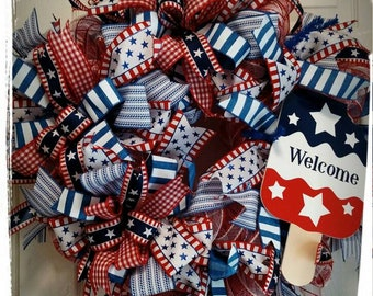 Fourth of July Wreath, Patriotic Wreath, Summer Wreath, Independence Day Wreath, Front Door Wreath, Housewarming Wreath, Gift