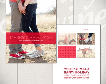Christmas Card Template: Snowball Fight B - 5x7 Holiday Card Template for Photographers