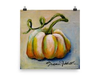 Pumpkin 3 (Series of 4), Farmhouse Fall, Print of Original - Sharon Sudduth Artist