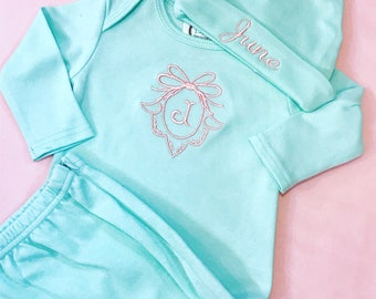 Monogrammed Cotton Zipped Baby Gown and Cotton Knotted Hat-Monogrammed Gift-Classic Baby-Newborn-Going Home Outfit-Southern Baby-Gift