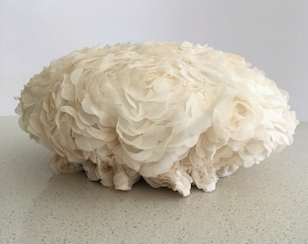 Large Cream Frill  Polyester Shower Cap with  Waterproof Lining, Bath Cap for the  family, ladies, girls, children.