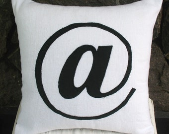 at symbol/sign throw pillow. black and white at  Symbol cushion cover. Custom made colours of your choice and sizes