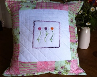 Nursery Cushion. Baby Cushion.Hand Embroidered Cushion.Pink Cushion.BabyGift.Patchwork Cushion.Nursery Pillow.Nursery Decor.Baby Girl Gift