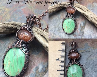 Genuine Green Varcisite with Sunstone, Copper Wire Wrapped Necklace, Free USA Ship, Ready to Ship, Gift