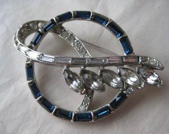 Blue Clear Rhinestone Flower Brooch Silver Vintage Pin