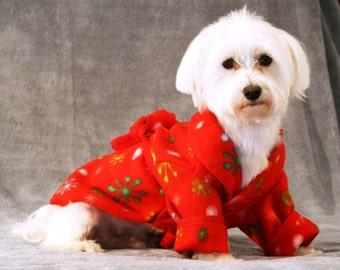 Doggie Robe, red holiday fleece, XS