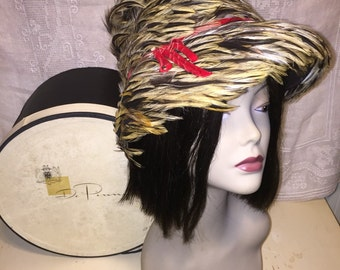 Vintage Mid Century 1950s 50s 1960s 60s Wool Felt and Feather Hat Bucket Hat Brim Gladdings Providence RI with Hat Box