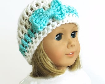 AG Doll Hat - 18 Inch doll clothes - Bow Beanie