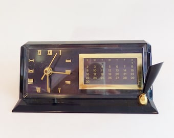 Vintage Bell Telephone Company Desk Clock, Calendar, and Pen Holder - Made in USA - Battery Operated Clock