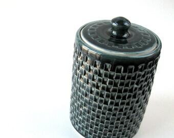 Green lidded canister, Blue lidded canister, Green lidded jar, Carved ceramic jar