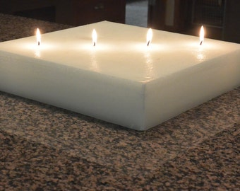 Custom hand poured 15 x 15 square candle with 4 wicks