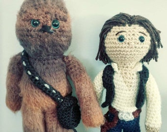 Han Solo and Chewbacca Inspired Crochet Dolls
