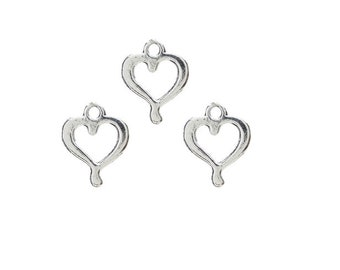 SET of 10 heart charms, Love, love, marriage (A19)