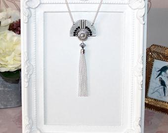 Flapper/Gatsby/1920's silver necklace with deco style fan, rhinestones & tassel pendant