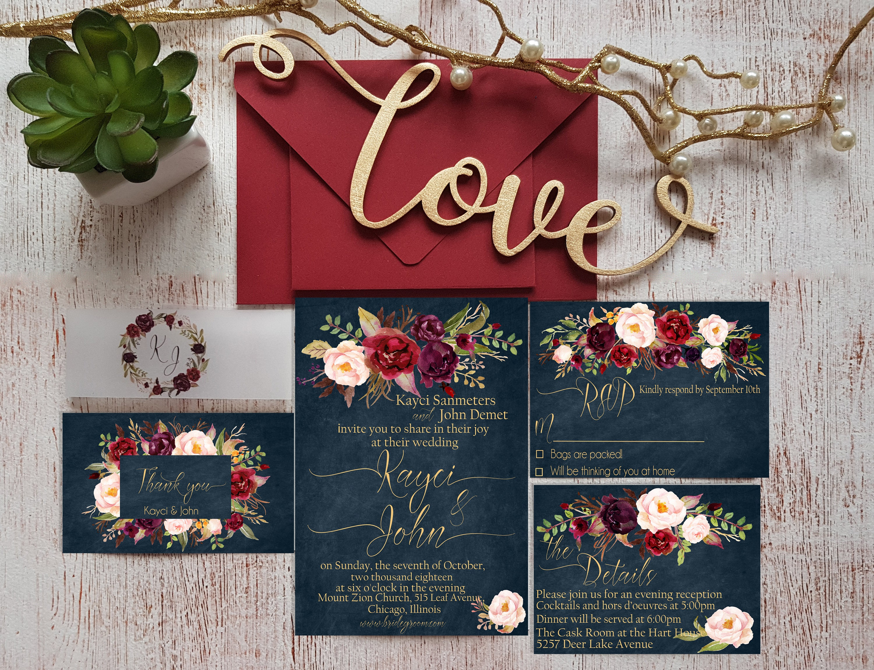 Navy Blue Wedding Invitations: Navy Blue Wedding Invitations Suite Personalized Marsala