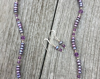 Freshwater Pearl, Swarovski Crystal and Sterling Necklace Set