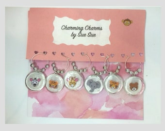 Zoo Animal Wine Charms, Choose from group of 12, Fun Wine Charms, Drink Identifier