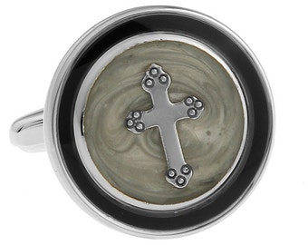 Round Silver and Black with Grey Religious Cross Cufflinks Cuff Links