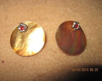 Sterling Silver Swarvoski Crystal Red Stars Studs w/ Gold Shell... 2 in 1 Earrings...one of a kind..1346h