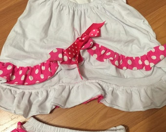 White and pink polka dots ruffled pinafore set ,ruffle diaper cover bloomer