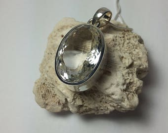 Faceted crystal quartz pendant, 92.5 sterling silver