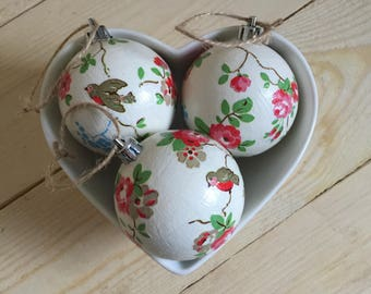 Cath Kidston Christmas Robin baubles set of 3