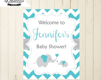 Welcome sign baby shower elephant blue turquoise welcome sign printable elephant baby sign door baby shower printable welcome sign 118